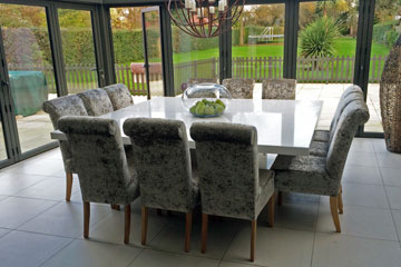 Grey Dining Table With Zebra Chairs Transitional